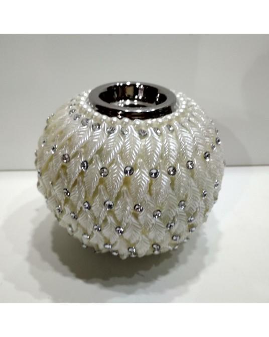 Velon blanco perlas grande