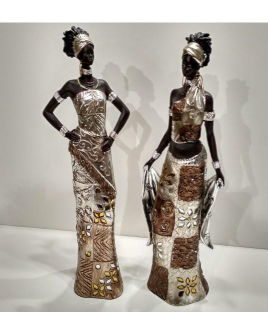 Pareja Figura Africanas oro cristal